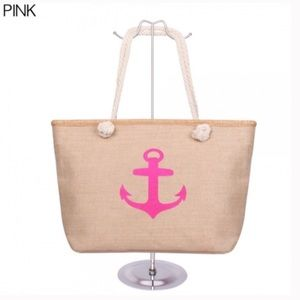 Bags - Pink Canvas Anchor Tote Beach Bag NEW